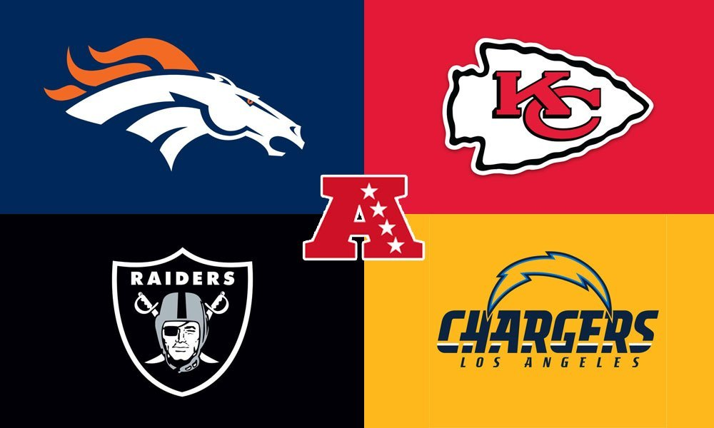 AFC West Broncos Chiefs Raiders Chargers