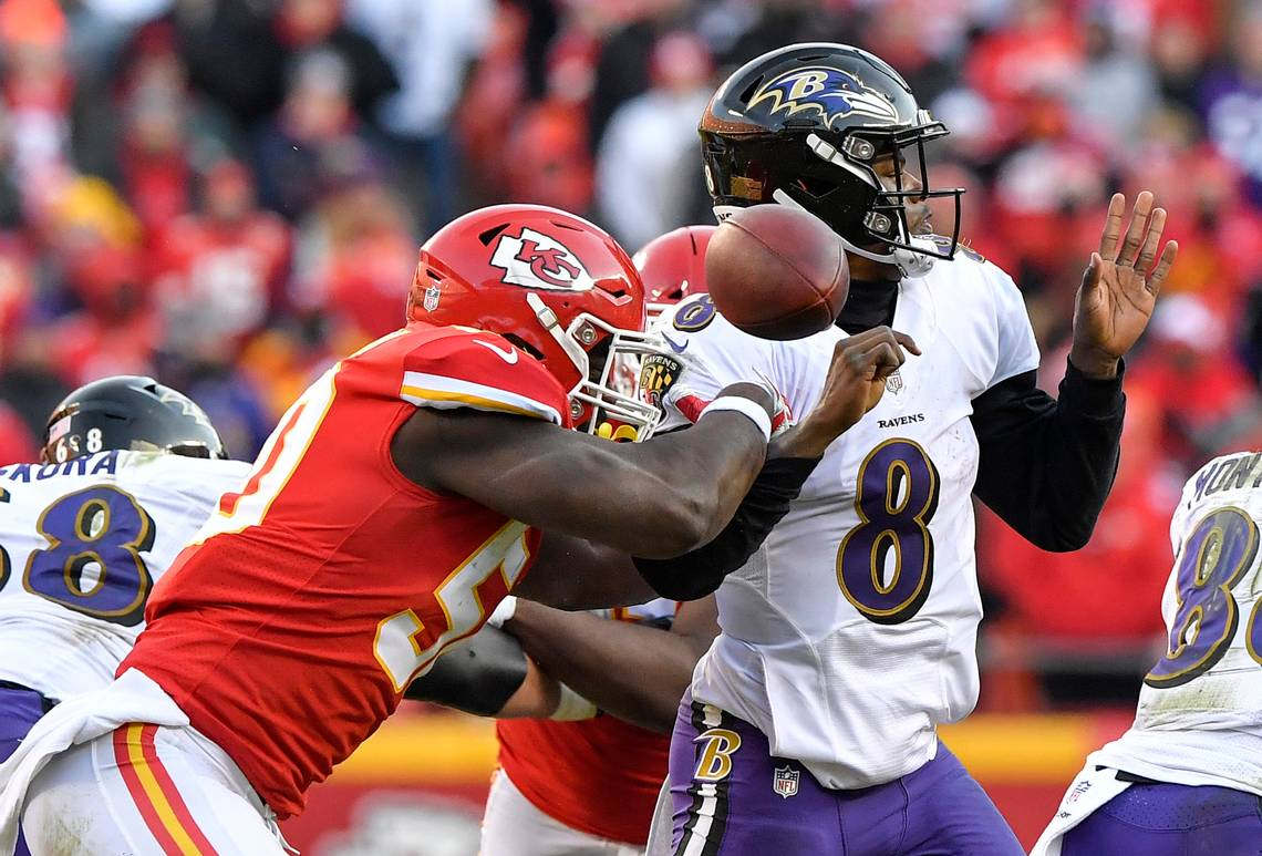 Lamar Jackson sacked in game against Kansas City Chiefs