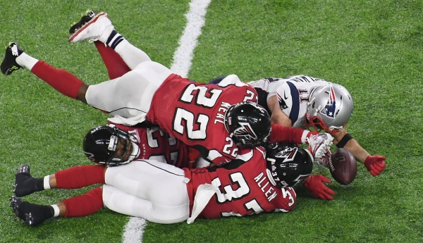 Julian Edelman with one of the most improbable catches in Super Bowl history