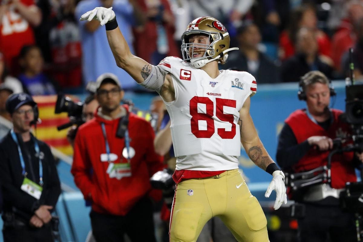 George Kittle celebrates after his catch in the Super Bowl