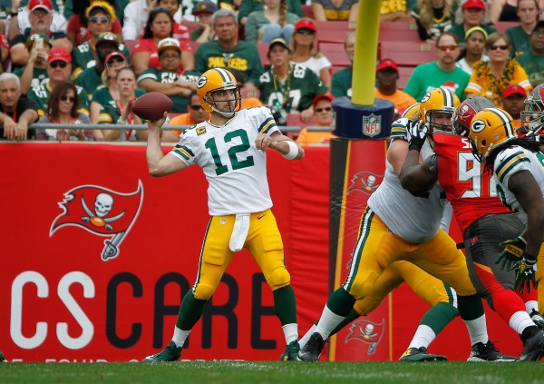 Aaron Rodgers and the Packers are just a small favorite on Sunday as they travel to face Tom Brady and the Bucs