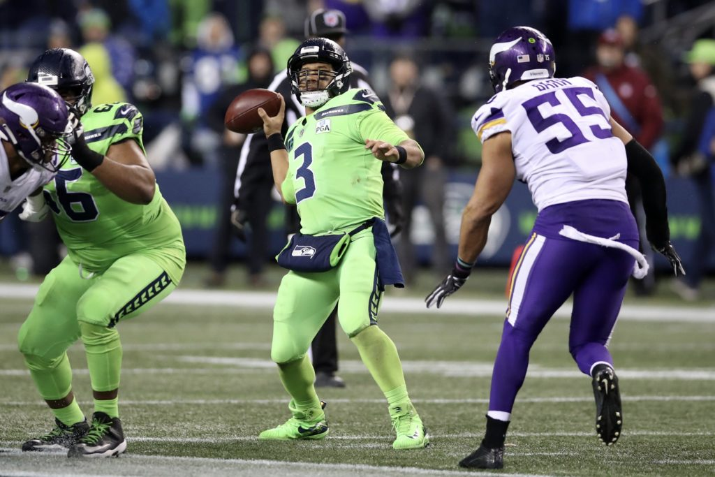 Russell Wilson and the Seahawks take on the Vikings Sunday night